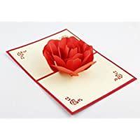 BC Worldwide Ltd Lotus Flower 3D Pop Up Gru/ßkarte Handmade Origami Papier Handwerk Kunst 3D popup rote Lotus Orange Staubgef/ä/ße Valentines Karte Geburtstag saisonale Gru/ß Muttertag Hochzeit Einladung Xmas Karten