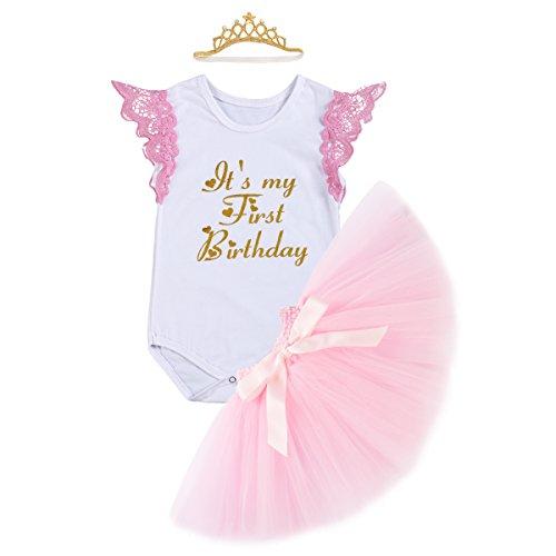 Baby Mädchen 1. Geburtstag Tutu Kleid Set Romper + Rock Tütü Pettiskirt Pumphose + Krone Stirnband Geschenk Säuglings Prinzessin 3 Stück Outfits Verkleidung Fotoshooting Kostüm Rosa - Rock-krone