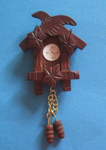 Mini Kuckucksuhr Holz braun Wohnzimmer Puppenhaus Möbel Dekoration Miniatur 1:12