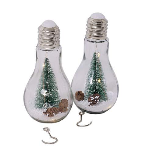 LED Glühbirne mit Weihnachtsdeko/Schnee und 3 LED - 2 Stück - Glas Glühlampe Hängelampe Tisch Leuchte Licht Lampe -