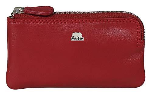 Brown Bear Schlüsseletui Damen Leder Rot Reißverschluss und Doppelnaht hochwertig