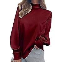 Mode Frauen Frühling Sommer Herbst Einfarbig Rollkragen T-Shirt Damen Casual Laterne Hülse Bluse Shirt Tunika Tops Für Mädchen S-2XL