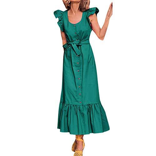 LILIHOT Womens Holiday Sexy Rüschenärmel Bow Dress Damen Beach Party Kleid Damen Blumen Kleid Elegant Maxikleid Floral Print Böhmischen Strand Maxi Kleid Casual -