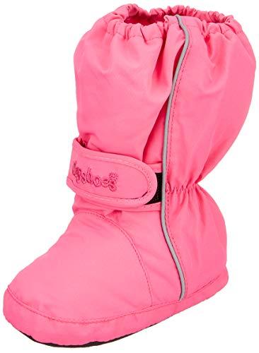 Playshoes Kinder Thermo-Bootie, warm gefütterte Krabbel-Schuhe für Jungen und Mädchen, mit Playshoes-Motiv gestickt (Winter Rosa Stiefel)