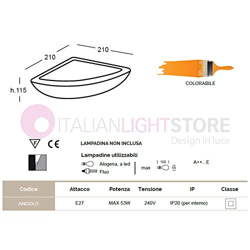 Applique Lampada Ad Angolo Angolare Decorabile In Ceramica Gesso