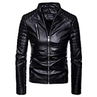 EnergyMen Premium Zip-up Punk Motorcycle PU Fitted Outwear Jackets XL Black