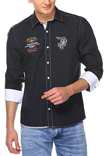 M.Conte Men Shirt Camicia Manica lunga Casual Cotone da Uomo Leonardo blue, Size M