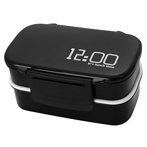 TLfyajJ Tragbare große Kapazität Doppelschicht Lebensmittelbehälter Mikrowelle Brotdose, plastikfrei, BPA frei, auslaufsicher   Geeignet für Mikrowelle, Gefrierschrank und Spülmaschine   Schwarz (Planetbox-lunch-box)
