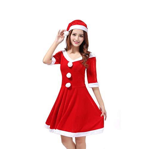 YC DOLL Sexy Kleid, Womens Santa Claus Weihnachts Kostüm Cosplay, Outfit Ausgefallene Kleid Sexy Set, Weihnachts Geburtstag Geschenk Für Freunde Frauen, Rot, Eine (Lady Santa Claus Kostüme)