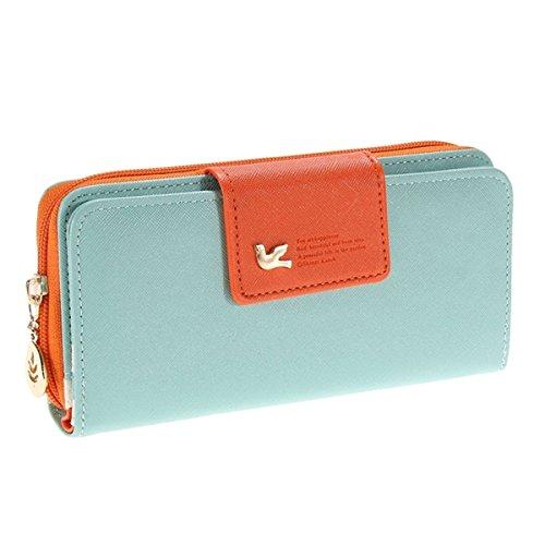 Auger Multi-Card Position Zwei Falten Lange Reißverschluss Geldbörse Lange Reißverschluss-Mappen-Handhandtasche der Frauen Himmelblau
