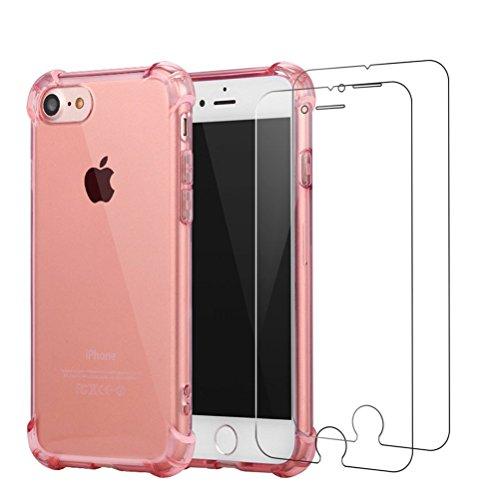 Cover iPhone 7 Plus + [2 Pezzi] iPhone 7 Plus Pellicola Vetro Temperato, Bestsky AntiUrto Shock Absorbing Pannello Posteriore Trasparente Silicone Custodia per Apple iPhone 7 Plus Rosa