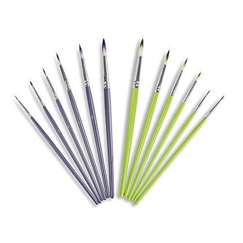 Detail Pinsel-Set Conda kurzem Holzgriff Grün und Violett Mauve für Details & Art Gemälde - Acryl, Aquarell, Öl, Modelle, Flugzeug Kits (EINWEG) -