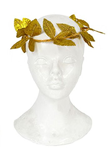 Karnevalsbud - Ehrenkranz Antike Kostüm- Blätter Lorbeer Haarreif Pharao Römer Toga goldglänzend, Gold (Antike Griechenland Das Toga)