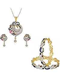 Sitashi Artificial Fashion Jewellery Combo Of Peacock Design Bangles And Pendant Set For Women