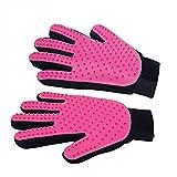 Haustierpflegehandschuhe Bürste modifiziertes Massagewerkzeug mit fünf Fingern Design Katze und Hund (pink)
