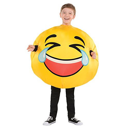Gesicht Kostüm Smiley - Generique - Lachendes Gesicht LOL Kinderkostüm Smiley gelb 128/140 (8-10 Jahre)