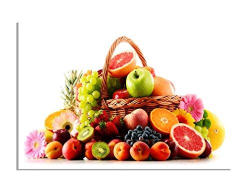 deinebilder24 Moderner Kunstdruck - 70 x 90 cm - Korb Voll mit frischem Obst (Frischem Obst Mit Korb)