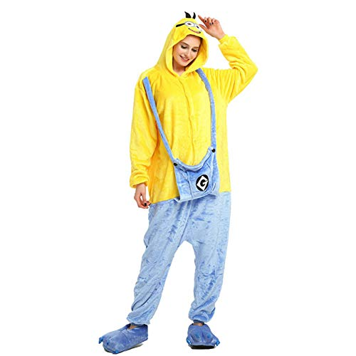 Jessica Unisex Erwachsene Plüsch One Piece Pyjamas Minions Overall Anime Cosplay,L