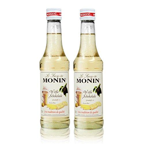 2x Monin Weiße Schokolade Sirup, 250 ml Flasche - für Cocktails, zum Kaffee oder Kochen