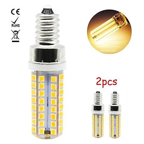 1819 2er 7W E12 LED Birne Leuchtmittel Energiesparlampe Lampe Warm Weiß 3000K, 550Lumen Ersatz für 60W Halogenlampe, 360º Abstrahlwinkel, 2835 SMD