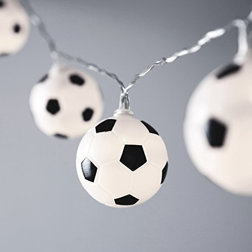 10er LED Fußball Lichterkette weiß Batterie Timer Lights4fun