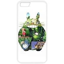 Anime Totoro TPU carcasa de silicona para iPhone 6(4,7) carcasa con protector de pantalla–funda para teléfono móvil, diseño blanco negro para iPhone 66S (4.7inch)