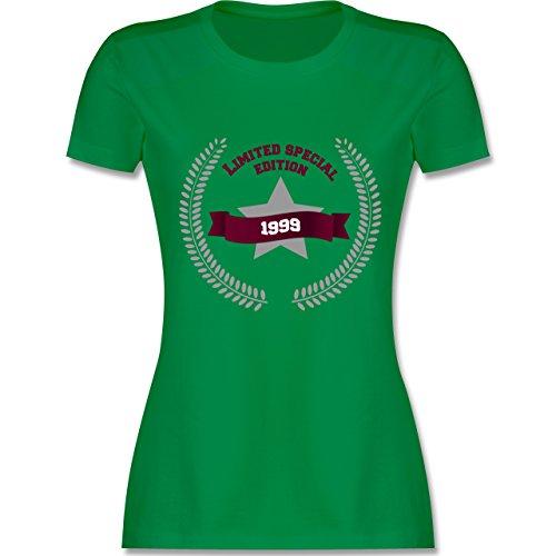 Shirtracer Geburtstag - 1999 Limited Special Edition - Damen T-Shirt Rundhals Grün