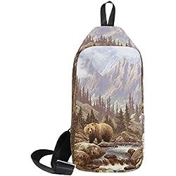 DragonSwordlinsu COOSUN Grizzly Bear In The Rockies - Mochila de Hombro, Diseño de Oso en los rocos, Ligera, Casual, para Hombres y Mujeres