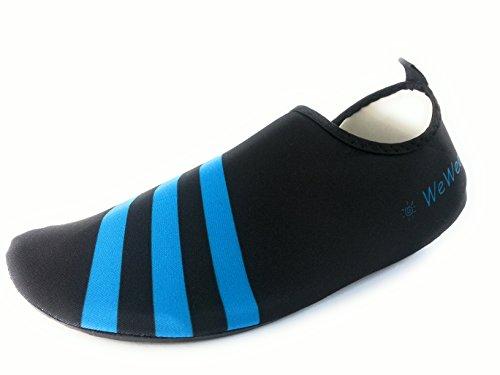 WeWee Bequeme Barfußschuhe aus elastischen Neopren, Blau, Gr.40-41 (Herstellergröße XL)