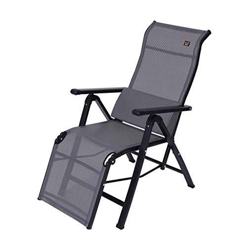 Myzdty-Pliante Textilene Chaise Fauteuil inclinable Pliant Sun Lounger Zero Gravity Lunch Break Chaises de Bureau avec Oreiller Lombaire (Couleur: Gris)