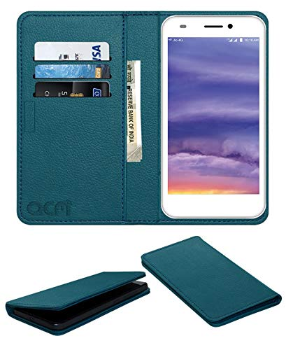 Acm Rich Leather Flip Wallet Front & Back Case for Lyf Wind 5 Mobile Flap Magnetic Cover Turquosie