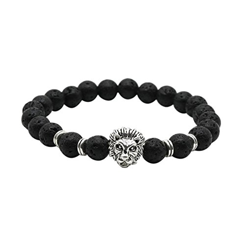 kingko® Großhandels-Buddha Löwe Armband schwarze Lavastein Korn Armbänder für Mann Frauen (Großhandel Dekor Vintage)