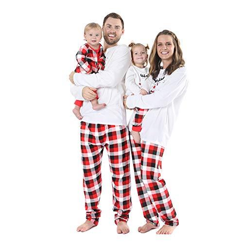 Baywell Weihnachts Schlafanzüge Familie Pyjama Outfit Set Rot Plaid Nachtwäsche Sleepwear Homewear fur Mutter Vater Kind Baby Weihnachtsoutfit (Plaid Pyjamas Familie)