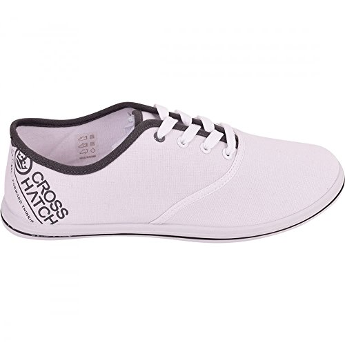 Crosshatch Mens Casual Plimsolls Fashion Pumps Trainers Lace Up Shoes Size 7-11 UK 9 (EUR 43) USA 10 White - Crosshatch