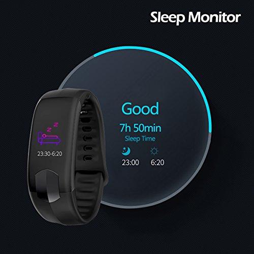 Pulsera Actividad Pantalla Color Pulsera Inteligente con Cardíaco Monitor Reloj Inteligente