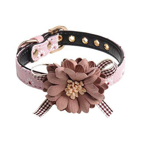 XdremYU Einstellbare Hundehalsband Blume Hund Welpe Katze Kragen Halsband Halskette Leine Heimtierbedarf Rosa M -