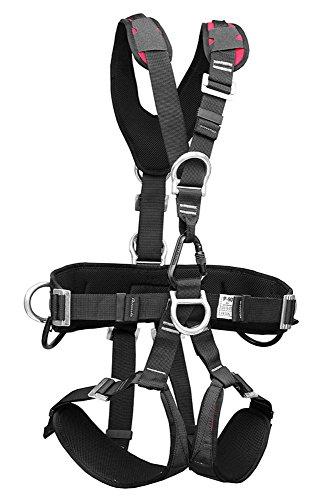TreeUp P 90 Cintura di sicurezza neri per arborists imbracatura arrampicata imbraghi (M-XL, nero-rosso)