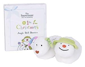 Rainbow Designs Sm1371el muñeco de Nieve y SNOWDOG mi 1st Navidad Jingle Bell Patucos