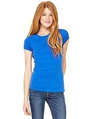T-shirt Bella tricot à côtes manche courte col ras du cou femme