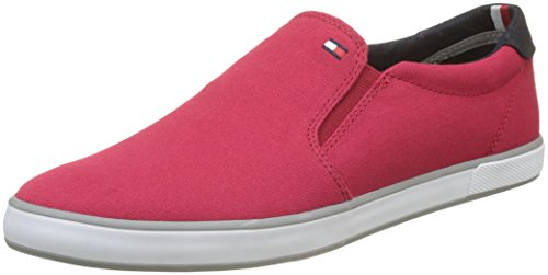 Tommy Hilfiger Herren Iconic Slip ON Sneaker, Rot (Tango Red 611), 43 EU Canvas-slip-schuhe