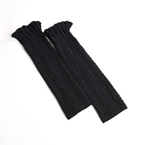 XIAOL Home Europa und die Vereinigten Staaten warme Bein-Sets Stricken Fußsets Wollstiefel Set Blume geformt Mund drehen Matte Stricken Blumen Socken (Color : Black) -
