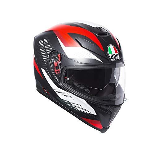 AGV Casco Moto Integrale K-5 S E2205 Multi Plk, Nero Marble Matt/Bianco/Rosso, Taglia S