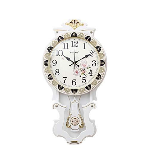 NIUZIMU Reloj de Pared Creativo de Madera Vintage, Sala de Estar Comedor Reloj Mute Dormitorio Mesa de Reloj Reloj de Cuarzo Antiguo 16 Pulgadas -12836 (Color : Blanco)