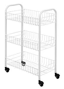 Metaltex Siena Rolling Cart, Plastic Coated, 3 Baskets