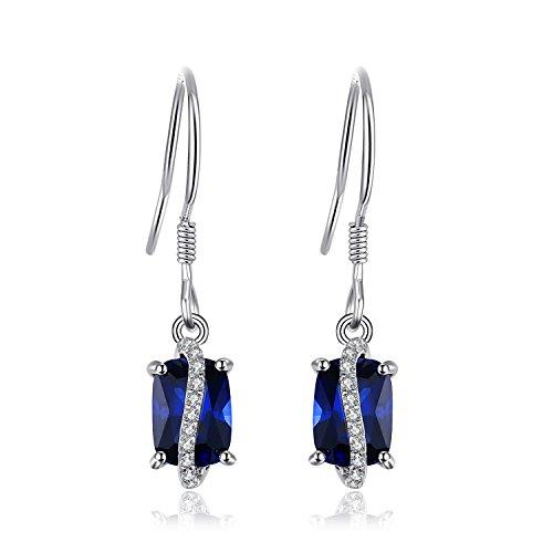 jewelrypalace Rechteck 3.86CT Erstellt Saphir Drop Ohrringe 925Sterling ()