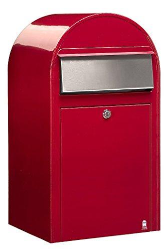 Bobi Grande Briefkasten RAL 3001 rot, Klappe aus Edelstahl Wandbriefkasten