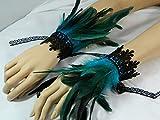Federarmbänder türkis Manschetten Cuffs Vogel Burlesque Pfau Eisvogel