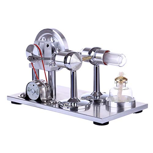 TETAKE Stirlingmotor Bausatz Sterling Motoren Stirlingmotor LED Stirling Engine Stirlingmotor mit Generator Kit für Technikinteressierte Bastler