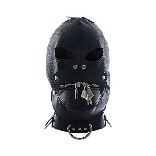 Hisionlee Bondage & Fetisch Sklave PU-Leder kopf-Maske mit Zip-Lock Mund und Traction Ring SM Sextoys (Schwarz2)