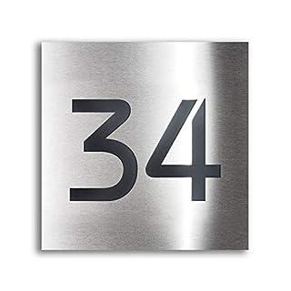 Design Hausnummer-Schild Edelstahl-Plakette – inklusive Gravur-Service & Montage-material – Unterputz-Montage (20 x 20 cm)
